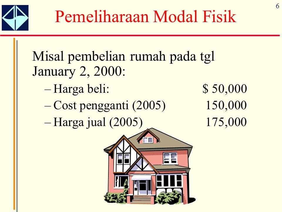 6 Misal pembelian rumah pada tgl January 2, 2000: –Harga beli:$ 50,000 –Cost pengganti (2005)150,000 –Harga jual (2005)175,000 Pemeliharaan Modal Fisik