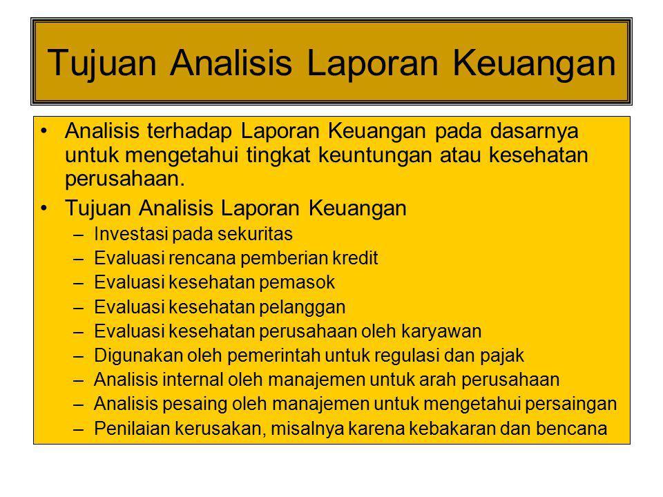 Tujuan Analisis Laporan Keuangan Analisis terhadap Laporan Keuangan pada dasarnya untuk mengetahui tingkat keuntungan atau kesehatan perusahaan. Tujua