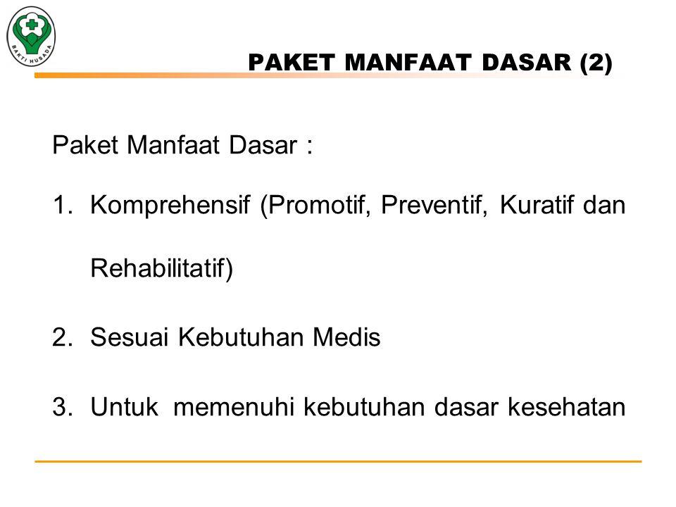 PAKET MANFAAT DASAR (2) Paket Manfaat Dasar : 1.Komprehensif (Promotif, Preventif, Kuratif dan Rehabilitatif) 2.Sesuai Kebutuhan Medis 3.Untuk memenuhi kebutuhan dasar kesehatan