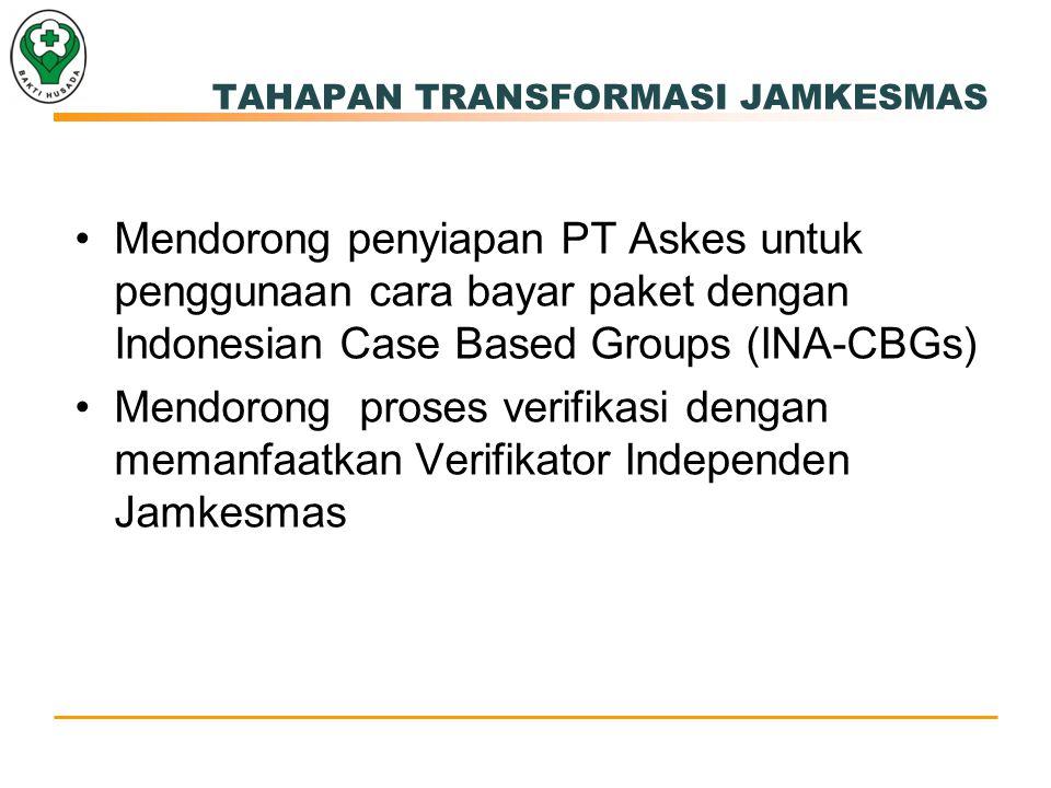 Mendorong penyiapan PT Askes untuk penggunaan cara bayar paket dengan Indonesian Case Based Groups (INA-CBGs) Mendorong proses verifikasi dengan memanfaatkan Verifikator Independen Jamkesmas TAHAPAN TRANSFORMASI JAMKESMAS