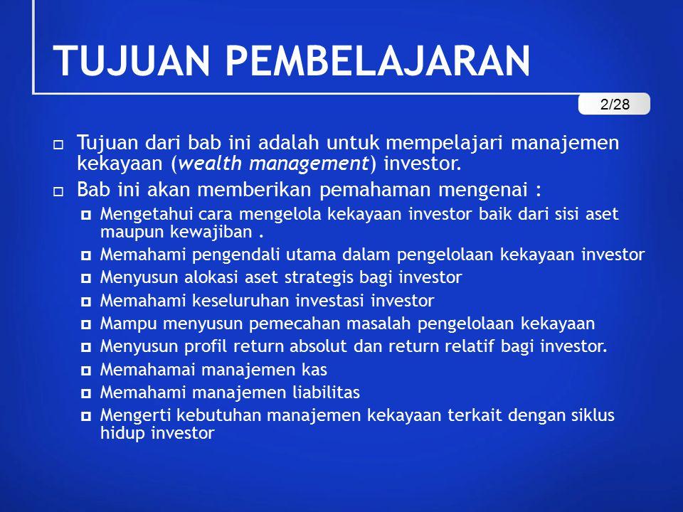 TUJUAN PEMBELAJARAN  Tujuan dari bab ini adalah untuk mempelajari manajemen kekayaan (wealth management) investor.  Bab ini akan memberikan pemahama