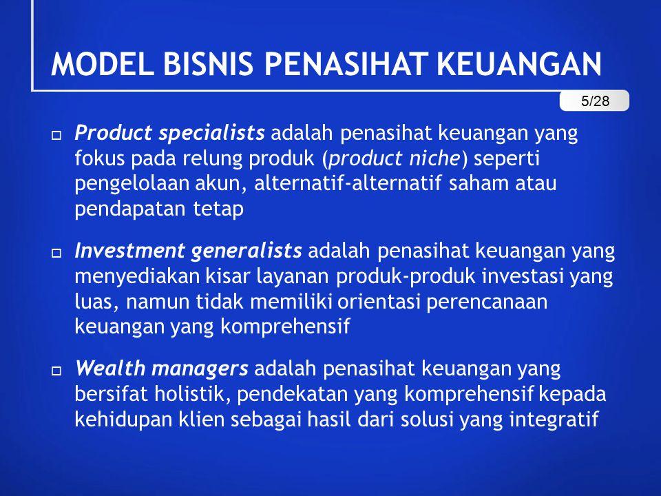 MODEL BISNIS PENASIHAT KEUANGAN  Product specialists adalah penasihat keuangan yang fokus pada relung produk (product niche) seperti pengelolaan akun