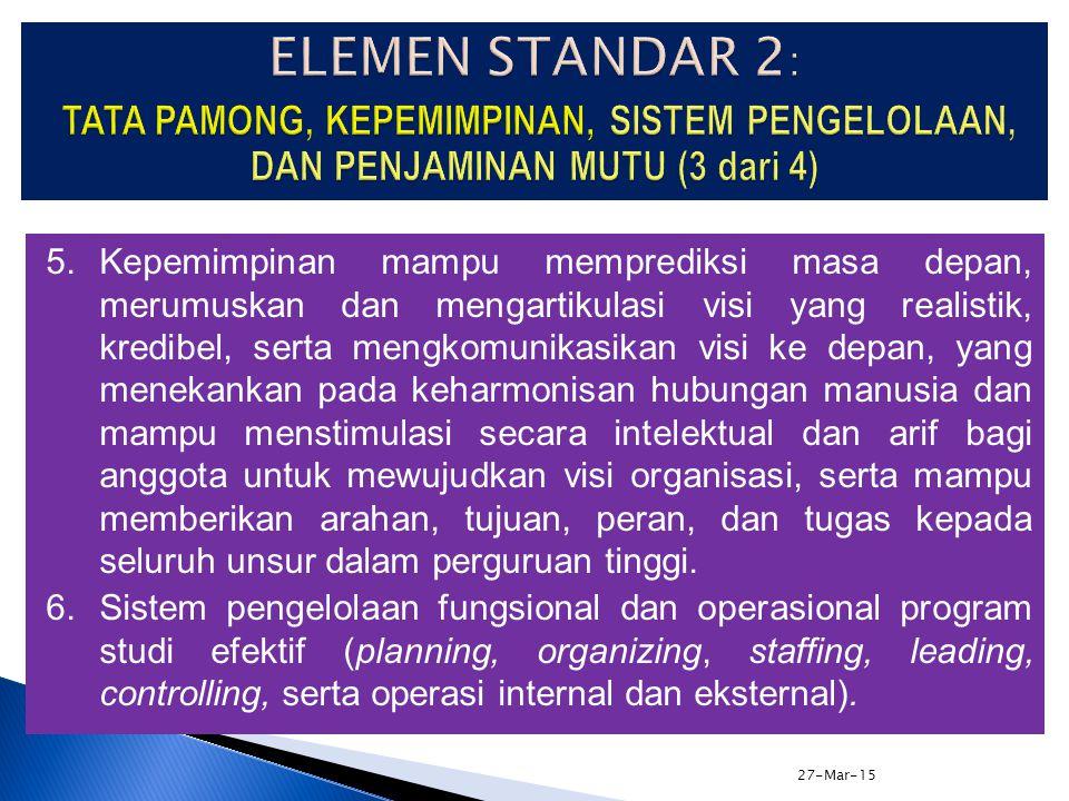 27-Mar-15 3.Tata pamong didukung dengan budaya organisasi yang dicerminkan dengan tegaknya aturan, etika dosen, etika mahasiswa, etika karyawan, siste