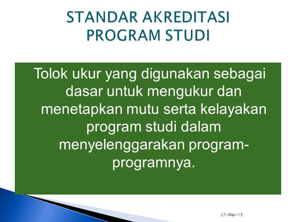 27-Mar-15 ELEMEN STANDAR 7 : PENELITIAN, PENGABDIAN/PELAYANAN MASYARAKAT, DAN KERJASAMA (3 dari 4) 1.Partisipasi aktif dalam perencanaan, implementasi, dan peningkatan mutu penelitian, pelayanan/pengabdian kepada masyarakat, dan kerjasama yang mendukung keunggulan yang diharapkan pada visi dan misi program studi dan institusi.