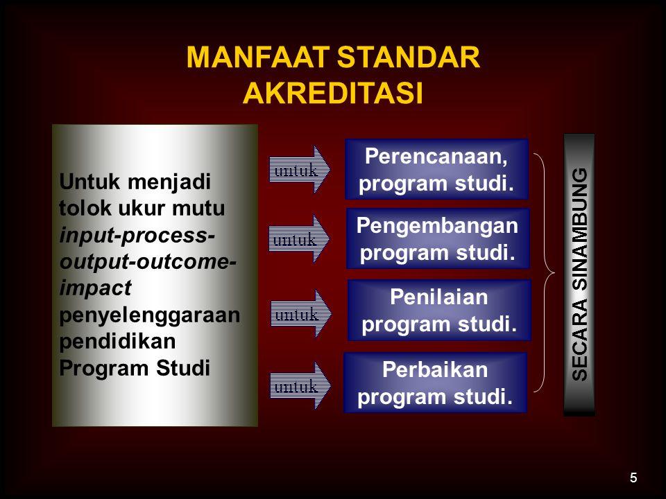 5 MANFAAT STANDAR AKREDITASI Untuk menjadi tolok ukur mutu input-process- output-outcome- impact penyelenggaraan pendidikan Program Studi Pengembangan program studi.