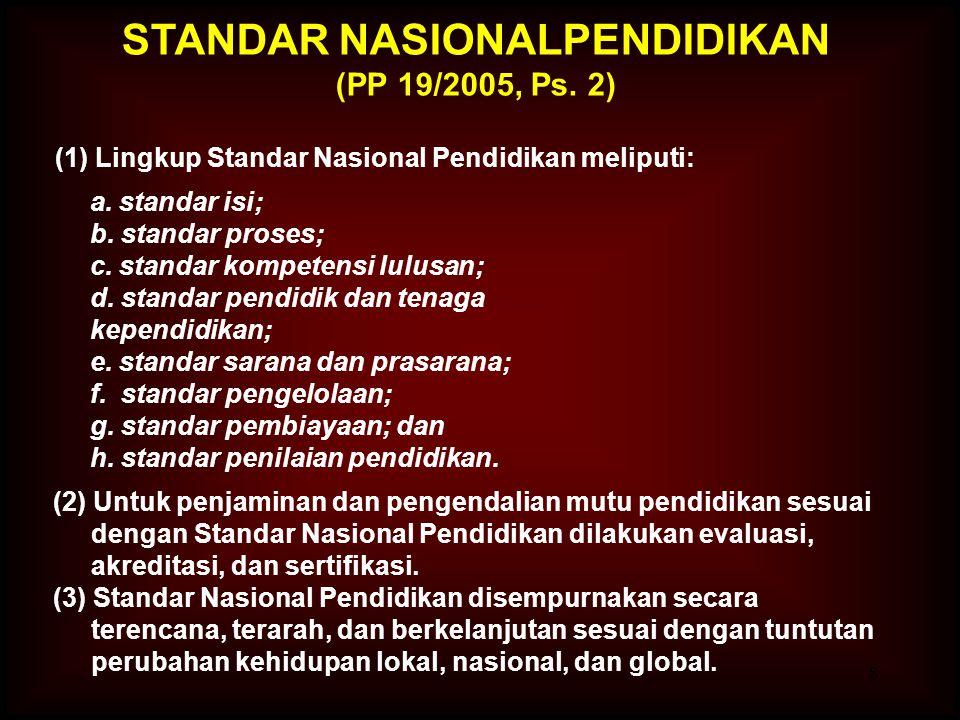 8 (1) Lingkup Standar Nasional Pendidikan meliputi: a.