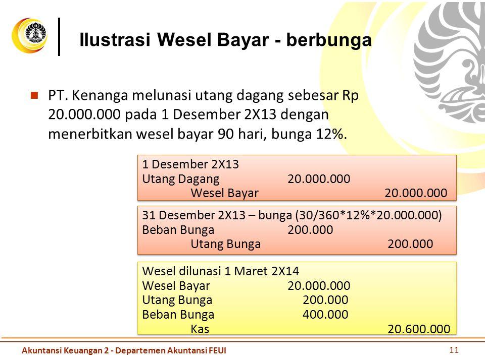 Ilustrasi Wesel Bayar - berbunga PT. Kenanga melunasi utang dagang sebesar Rp 20.000.000 pada 1 Desember 2X13 dengan menerbitkan wesel bayar 90 hari,