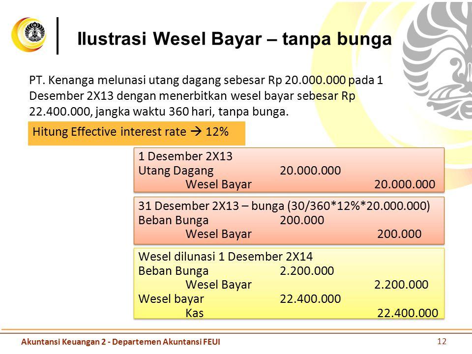 Ilustrasi Wesel Bayar – tanpa bunga PT. Kenanga melunasi utang dagang sebesar Rp 20.000.000 pada 1 Desember 2X13 dengan menerbitkan wesel bayar sebesa