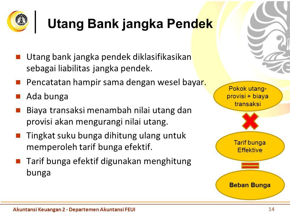 Utang Bank jangka Pendek Utang bank jangka pendek diklasifikasikan sebagai liabilitas jangka pendek. Pencatatan hampir sama dengan wesel bayar. Ada bu