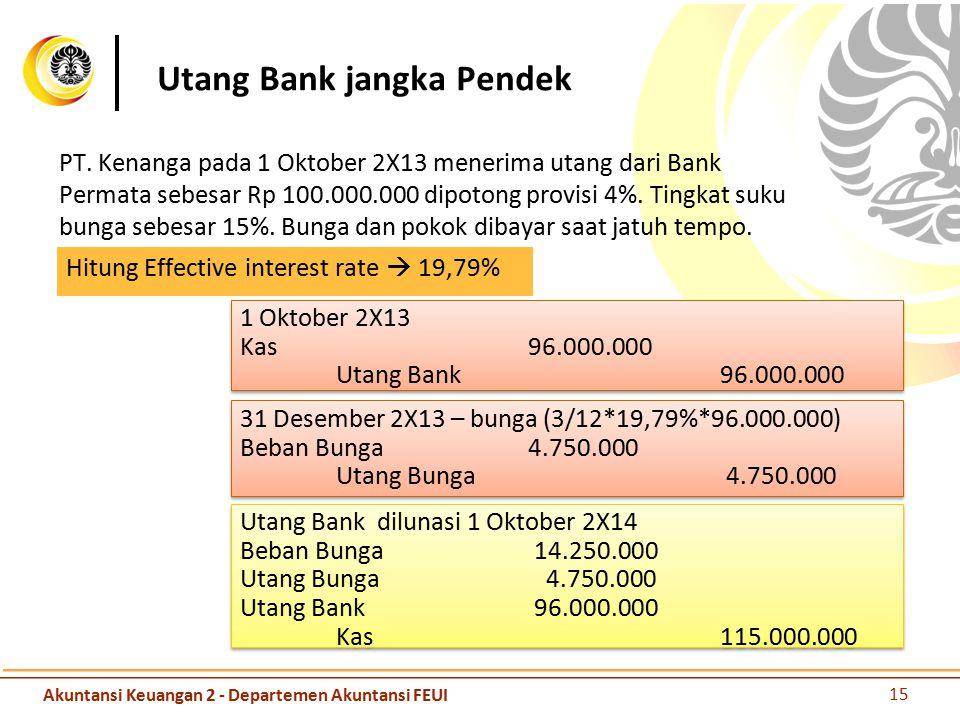 Utang Bank jangka Pendek PT. Kenanga pada 1 Oktober 2X13 menerima utang dari Bank Permata sebesar Rp 100.000.000 dipotong provisi 4%. Tingkat suku bun