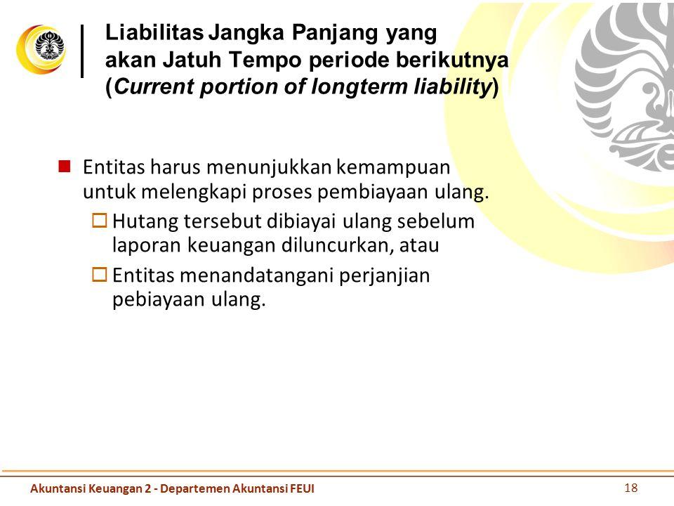 Liabilitas Jangka Panjang yang akan Jatuh Tempo periode berikutnya (Current portion of longterm liability) Entitas harus menunjukkan kemampuan untuk m