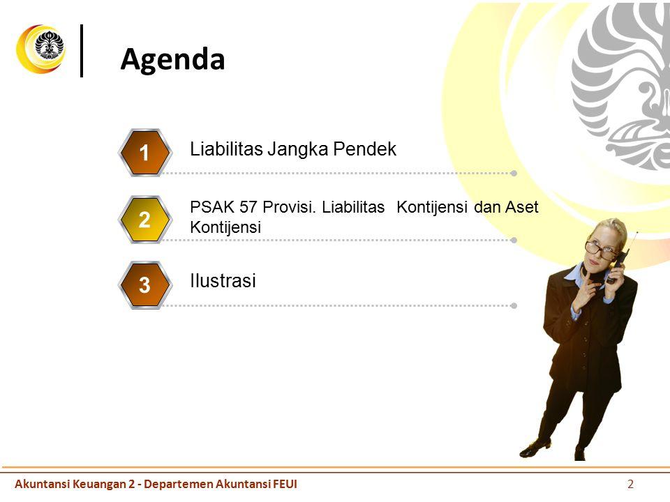 Agenda Liabilitas Jangka Pendek 1 PSAK 57 Provisi. Liabilitas Kontijensi dan Aset Kontijensi 2 Ilustrasi 3 Akuntansi Keuangan 2 - Departemen Akuntansi