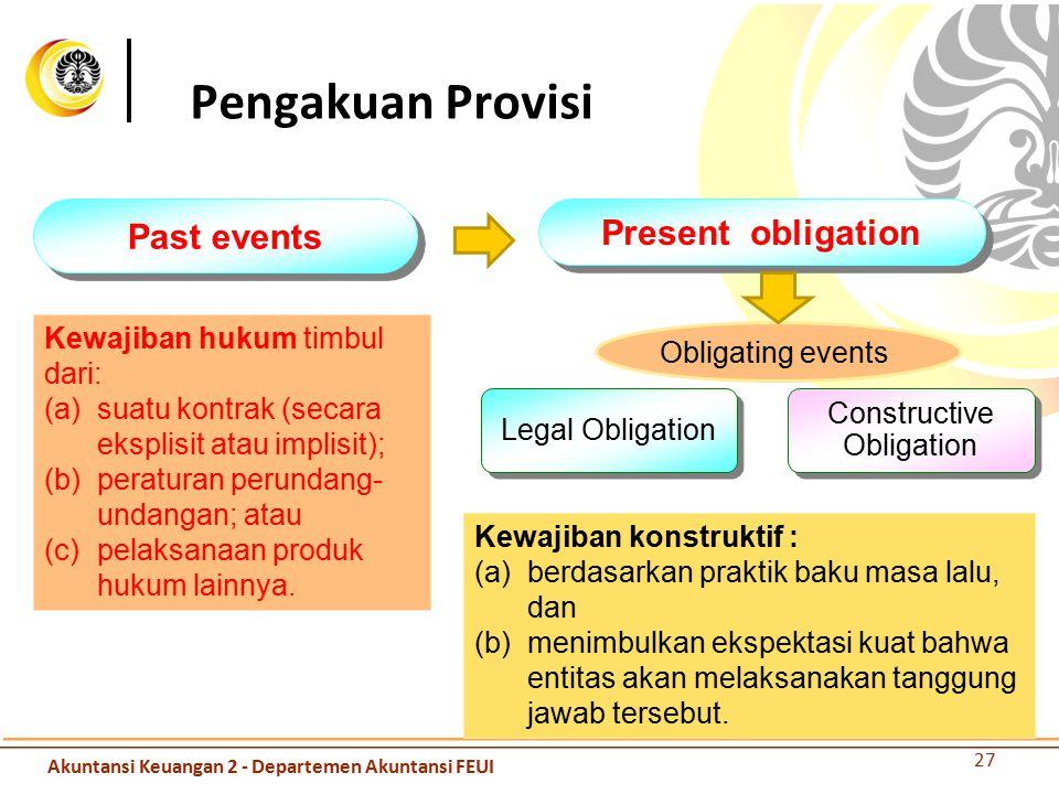 Past events Present obligation Obligating events Legal Obligation Constructive Obligation Kewajiban hukum timbul dari: (a) suatu kontrak (secara ekspl