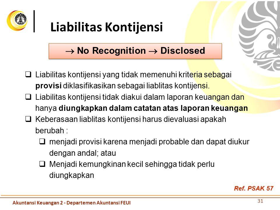 Liabilitas Kontijensi  No Recognition  Disclosed  Liabilitas kontijensi yang tidak memenuhi kriteria sebagai provisi diklasifikasikan sebagai liabl