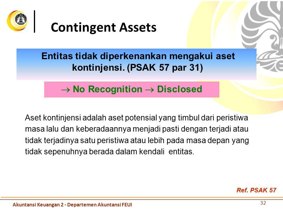 Entitas tidak diperkenankan mengakui aset kontinjensi. (PSAK 57 par 31) Contingent Assets  No Recognition  Disclosed Aset kontinjensi adalah aset po
