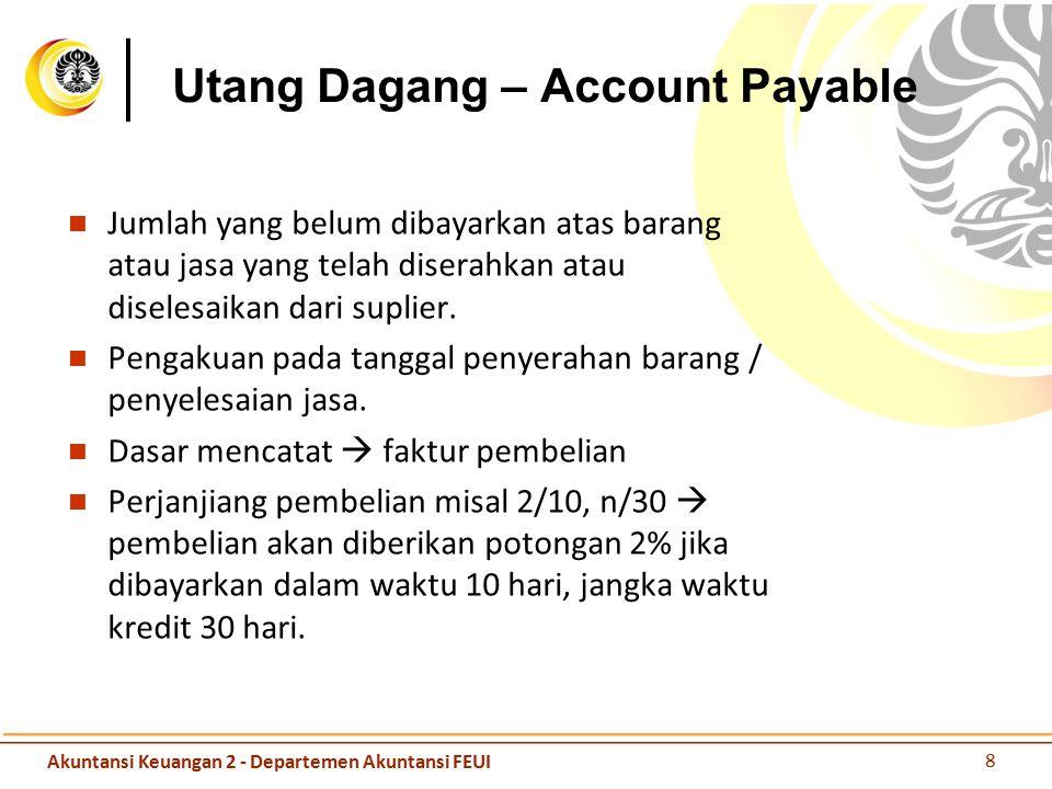 Utang Dagang – Account Payable Jumlah yang belum dibayarkan atas barang atau jasa yang telah diserahkan atau diselesaikan dari suplier. Pengakuan pada