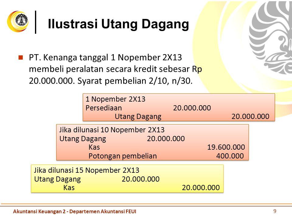Ilustrasi Utang Dagang PT. Kenanga tanggal 1 Nopember 2X13 membeli peralatan secara kredit sebesar Rp 20.000.000. Syarat pembelian 2/10, n/30. Akuntan