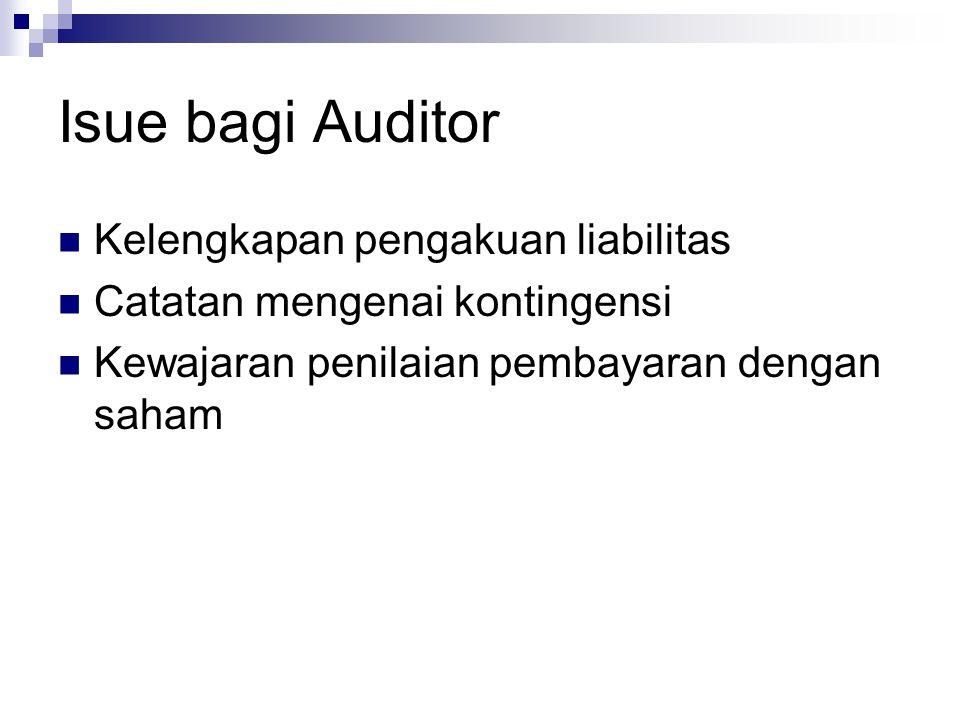 Isue bagi Auditor Kelengkapan pengakuan liabilitas Catatan mengenai kontingensi Kewajaran penilaian pembayaran dengan saham