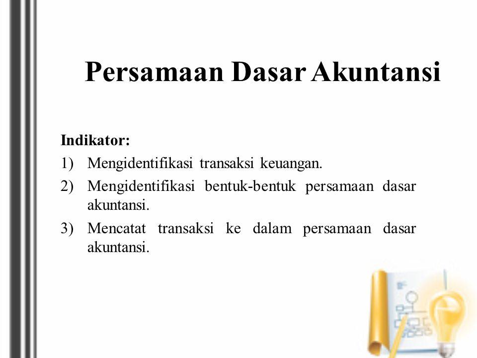 Persamaan Dasar Akuntansi Indikator: 1)Mengidentifikasi transaksi keuangan. 2)Mengidentifikasi bentuk-bentuk persamaan dasar akuntansi. 3)Mencatat tra