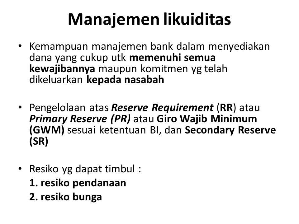 Manajemen likuiditas Kemampuan manajemen bank dalam menyediakan dana yang cukup utk memenuhi semua kewajibannya maupun komitmen yg telah dikeluarkan k