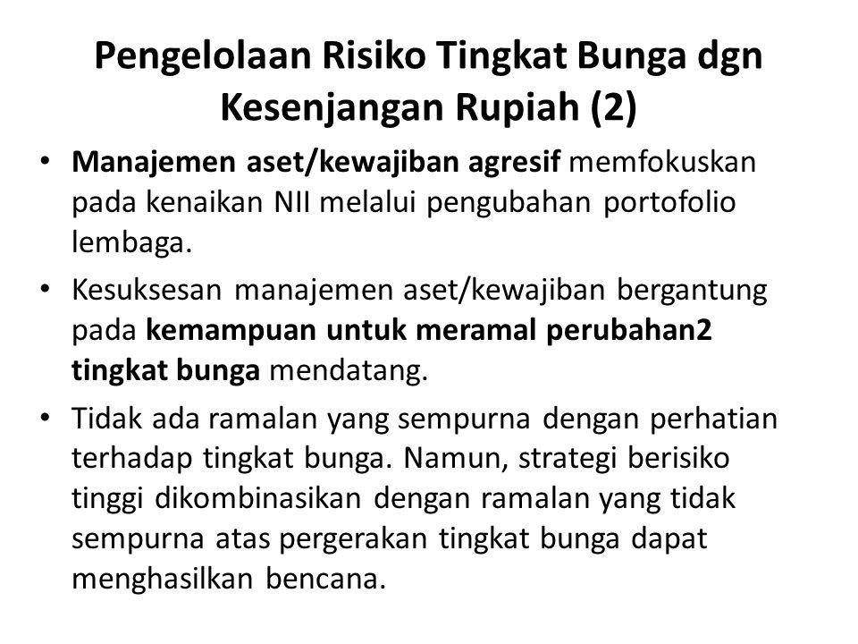 Pengelolaan Risiko Tingkat Bunga dgn Kesenjangan Rupiah (2) Manajemen aset/kewajiban agresif memfokuskan pada kenaikan NII melalui pengubahan portofol