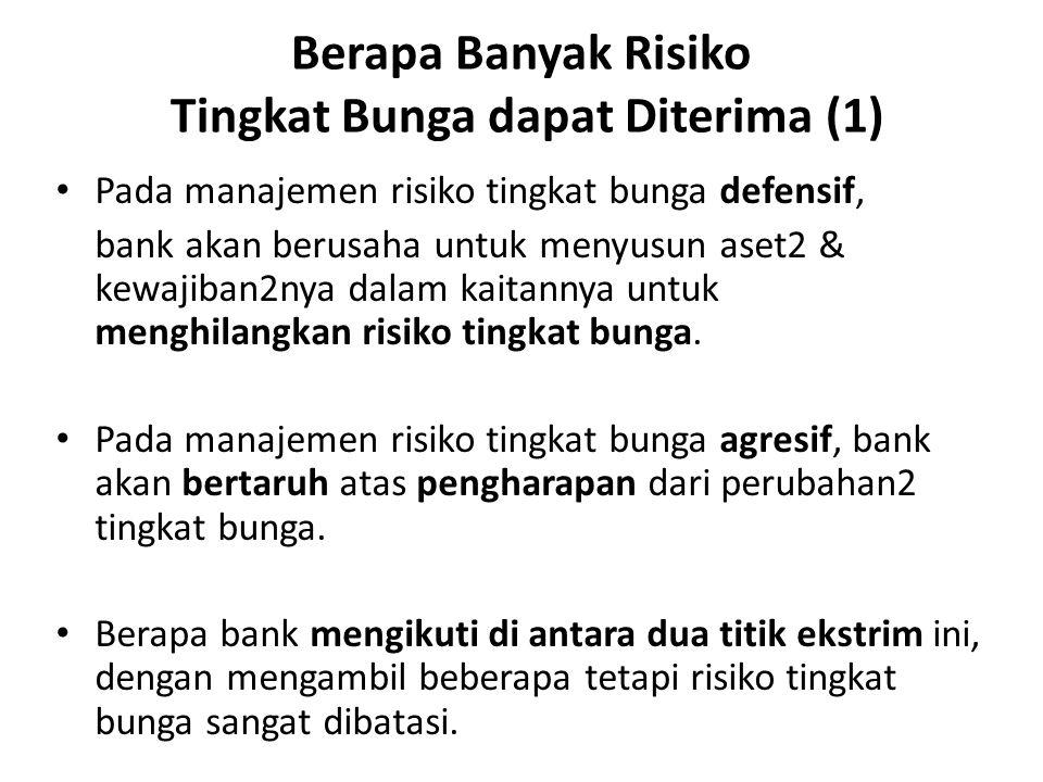 Berapa Banyak Risiko Tingkat Bunga dapat Diterima (1) Pada manajemen risiko tingkat bunga defensif, bank akan berusaha untuk menyusun aset2 & kewajiba