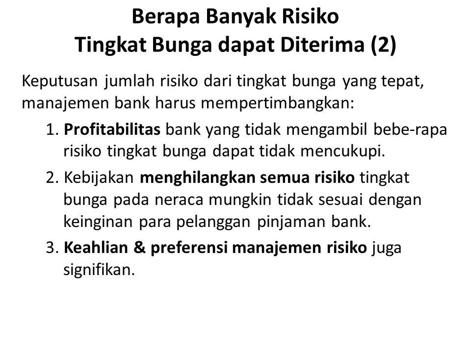 Berapa Banyak Risiko Tingkat Bunga dapat Diterima (2) Keputusan jumlah risiko dari tingkat bunga yang tepat, manajemen bank harus mempertimbangkan: 1.