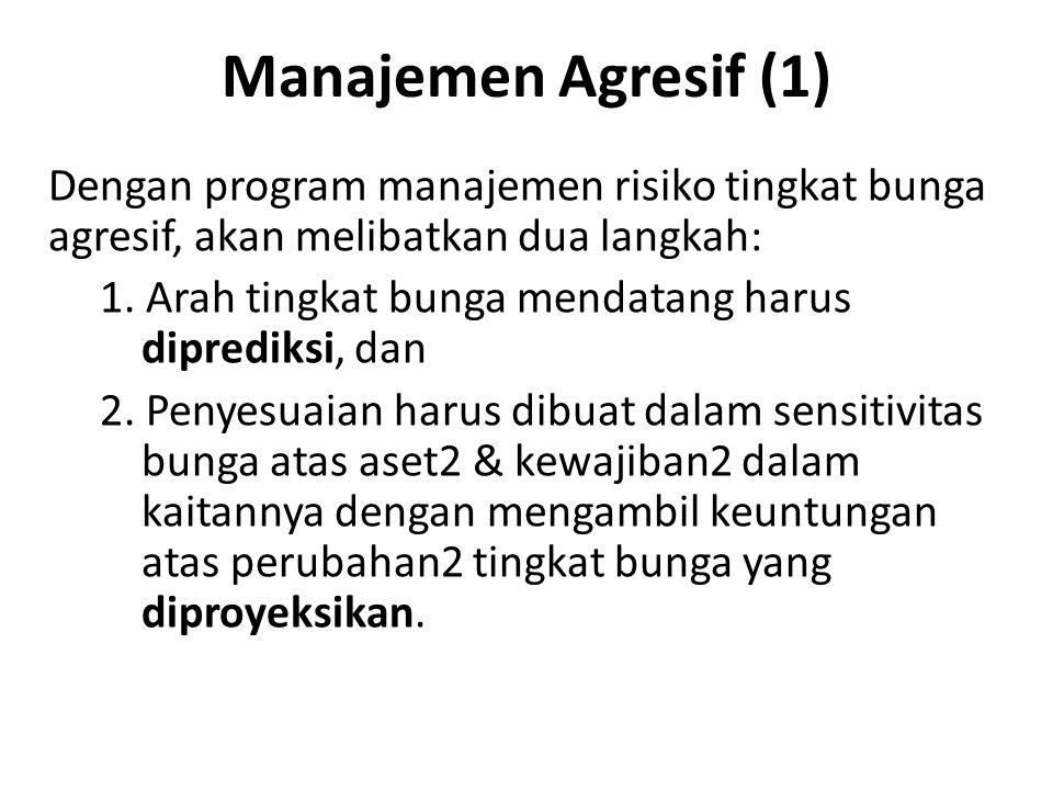 Manajemen Agresif (1) Dengan program manajemen risiko tingkat bunga agresif, akan melibatkan dua langkah: 1. Arah tingkat bunga mendatang harus dipred