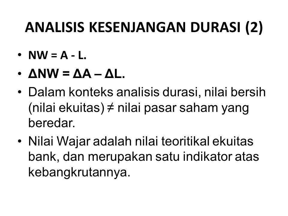 ANALISIS KESENJANGAN DURASI (2) NW = A - L. ΔNW = ΔA – ΔL. Dalam konteks analisis durasi, nilai bersih (nilai ekuitas) ≠ nilai pasar saham yang bereda