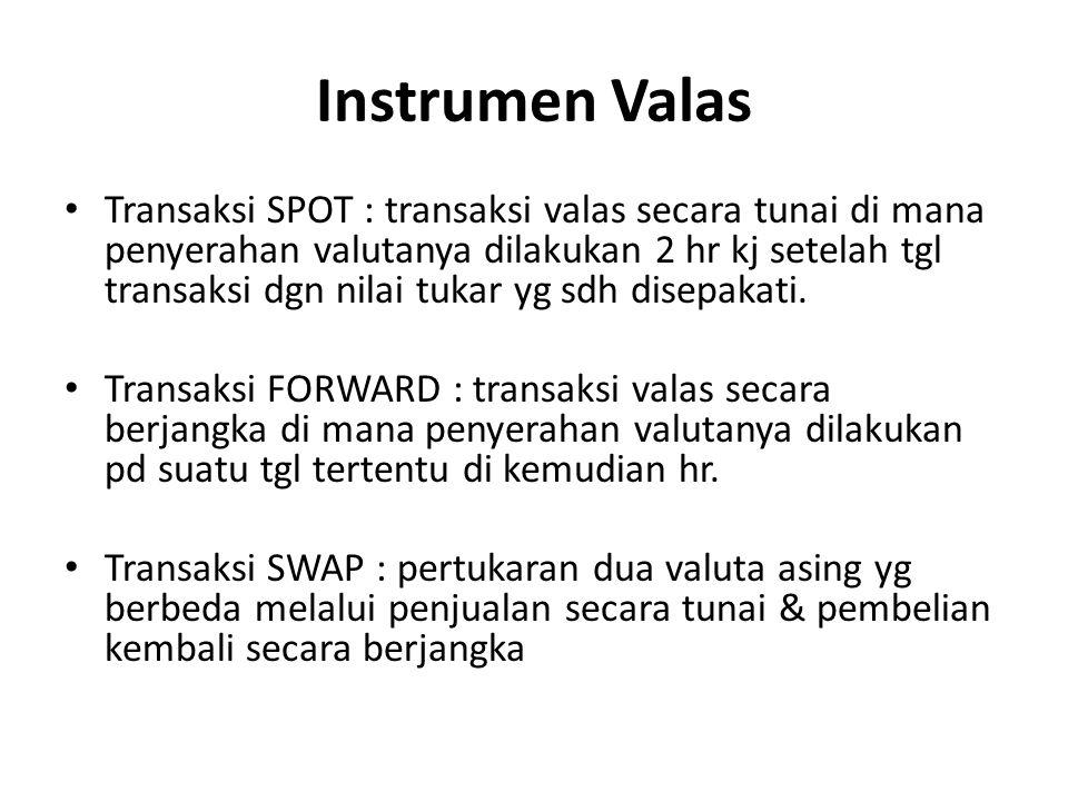 Instrumen Valas Transaksi SPOT : transaksi valas secara tunai di mana penyerahan valutanya dilakukan 2 hr kj setelah tgl transaksi dgn nilai tukar yg