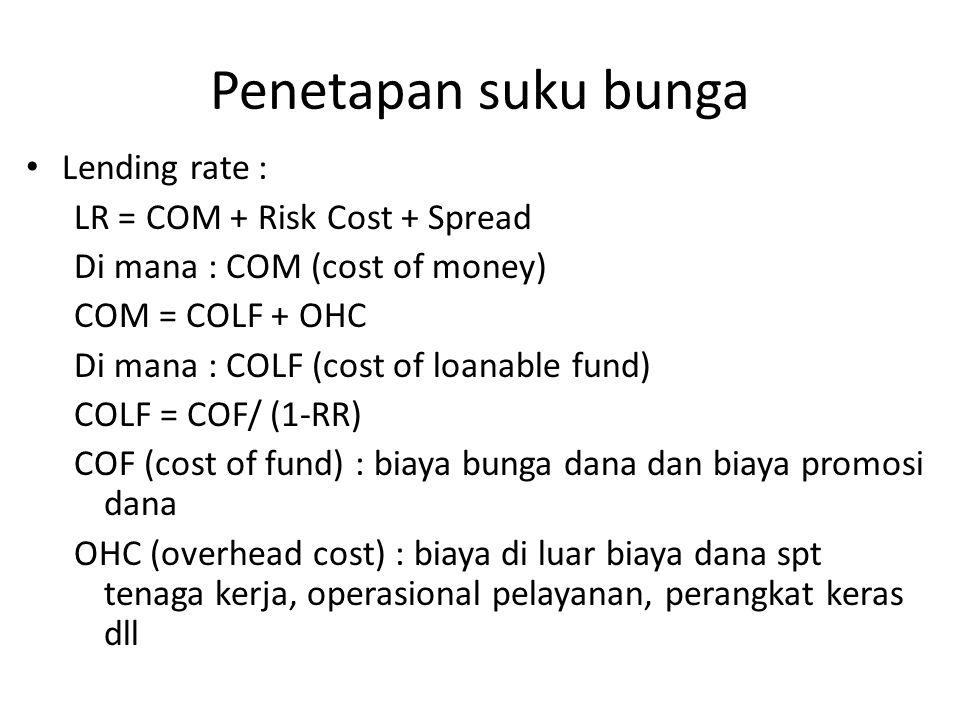 Penetapan suku bunga Lending rate : LR = COM + Risk Cost + Spread Di mana : COM (cost of money) COM = COLF + OHC Di mana : COLF (cost of loanable fund