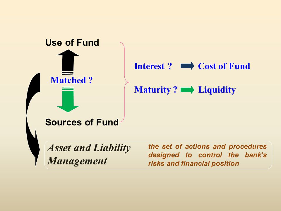 Interest .Maturity . Use of Fund Sources of Fund Cost of Fund Liquidity Matched .