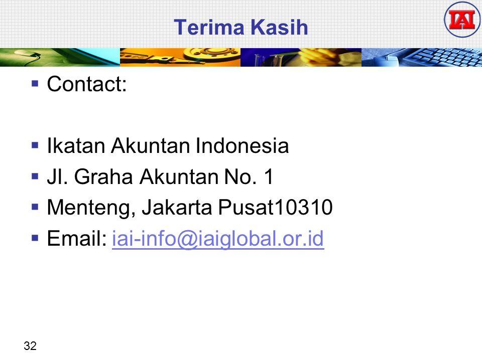 32 Terima Kasih  Contact:  Ikatan Akuntan Indonesia  Jl. Graha Akuntan No. 1  Menteng, Jakarta Pusat10310  Email: iai-info@iaiglobal.or.idiai-inf