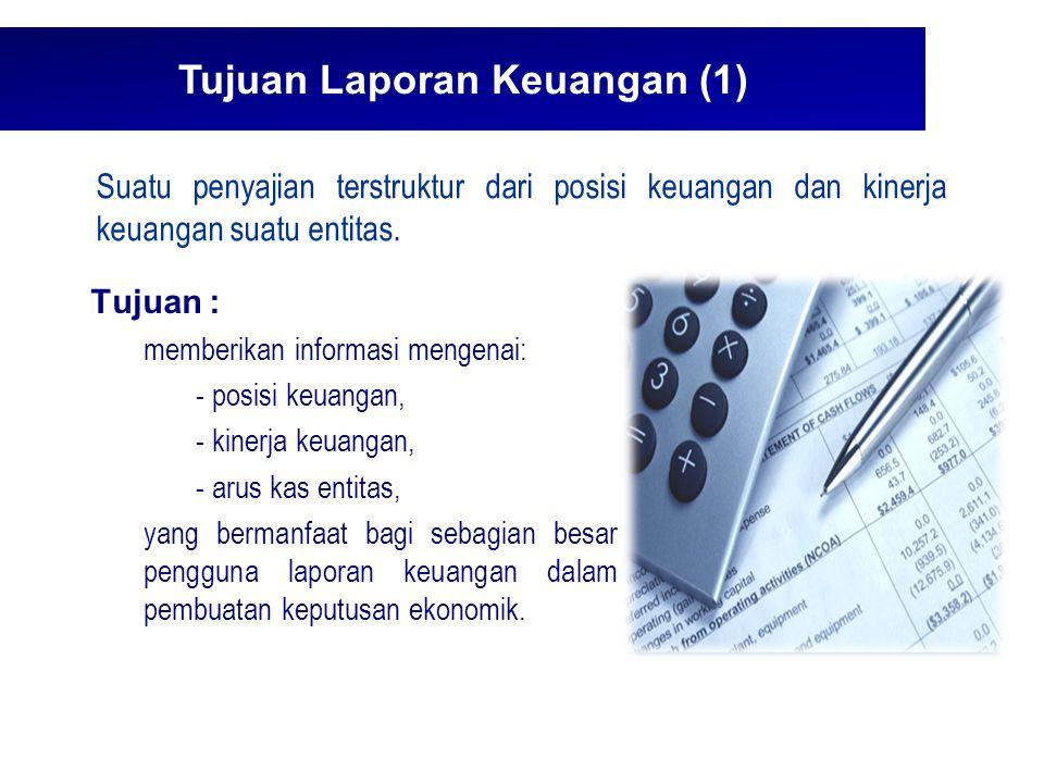 Tujuan Laporan Keuangan (2)  Akuntabilitas manajemen atas penggunaan sumber daya yang dipercayakan kepada mereka.