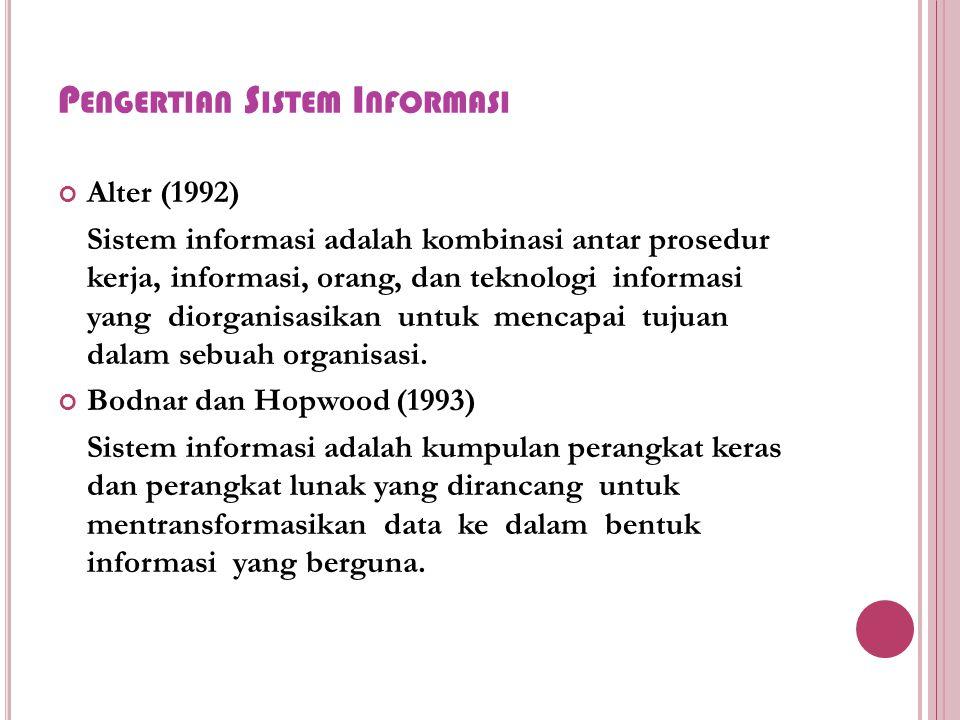 P ENGERTIAN S ISTEM I NFORMASI Alter (1992) Sistem informasi adalah kombinasi antar prosedur kerja, informasi, orang, dan teknologi informasi yang diorganisasikan untuk mencapai tujuan dalam sebuah organisasi.