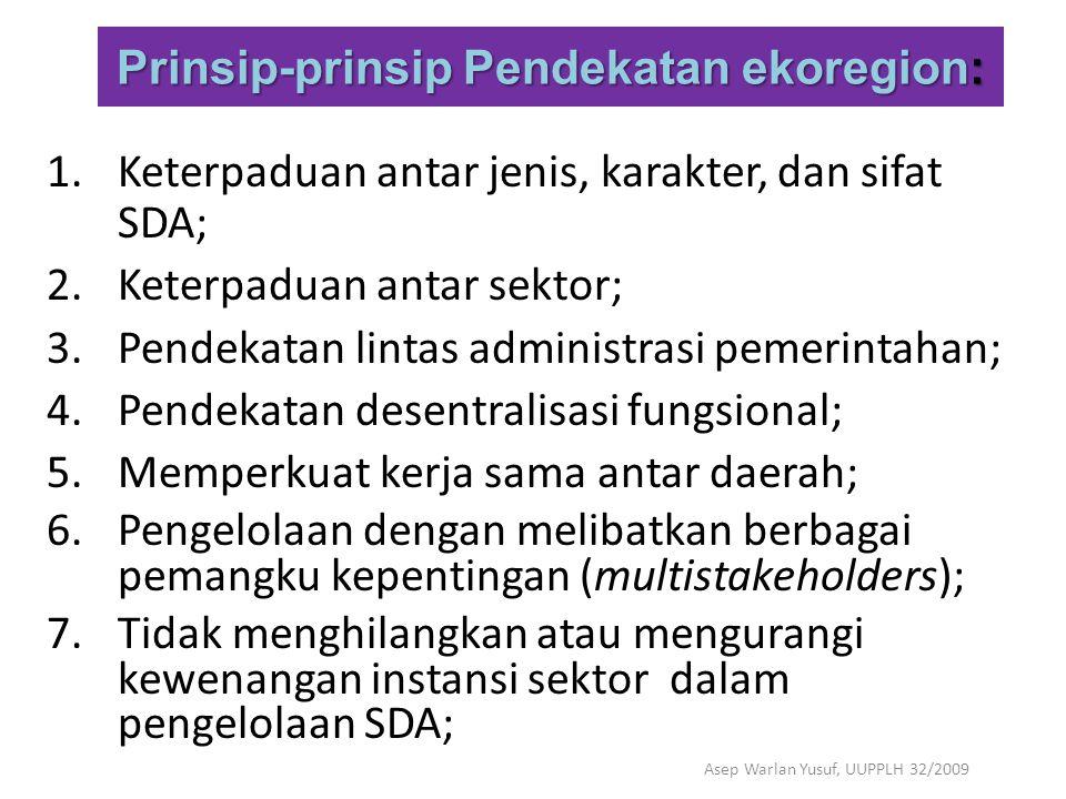 Prinsip-prinsip Pendekatan ekoregion: 1.Keterpaduan antar jenis, karakter, dan sifat SDA; 2.Keterpaduan antar sektor; 3.Pendekatan lintas administrasi
