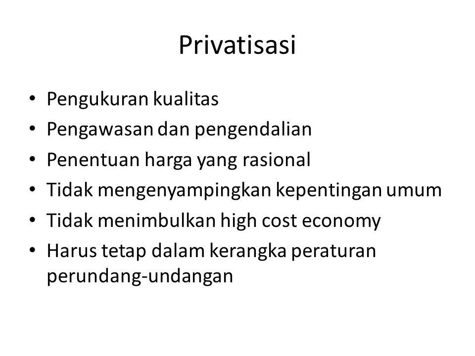 Privatisasi Pengukuran kualitas Pengawasan dan pengendalian Penentuan harga yang rasional Tidak mengenyampingkan kepentingan umum Tidak menimbulkan hi