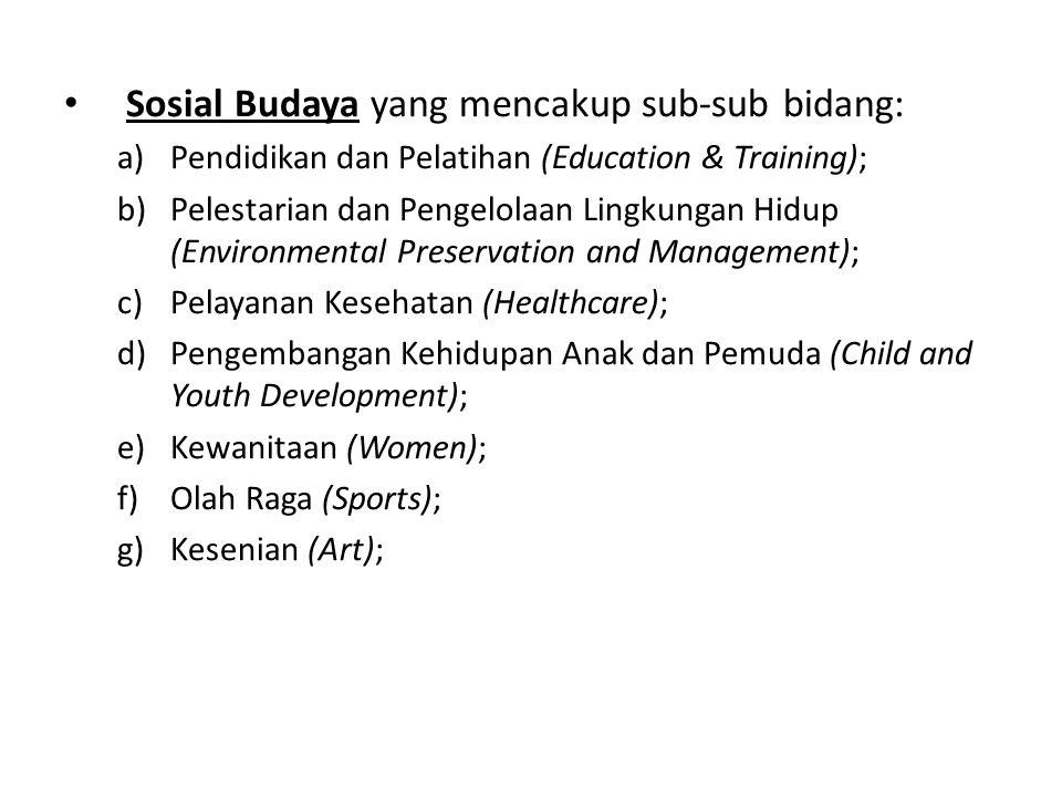 Sosial Budaya yang mencakup sub-sub bidang: a)Pendidikan dan Pelatihan (Education & Training); b)Pelestarian dan Pengelolaan Lingkungan Hidup (Environ