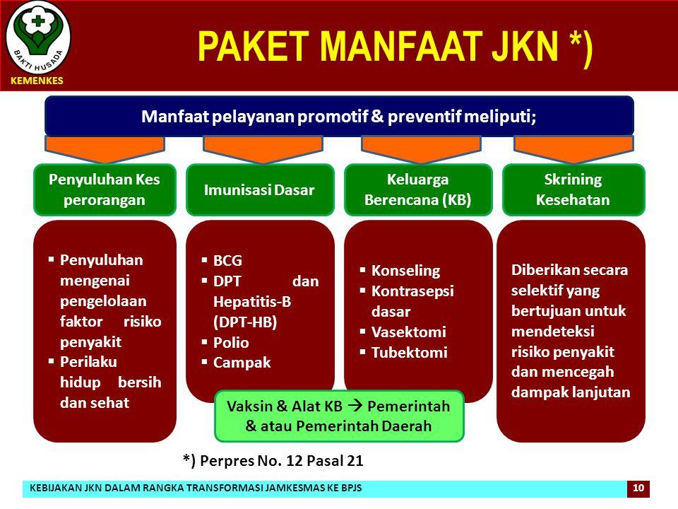 PAKET MANFAAT JKN *) KEMENKES 10 Manfaat pelayanan promotif & preventif meliputi;  Penyuluhan mengenai pengelolaan faktor risiko penyakit  Perilaku