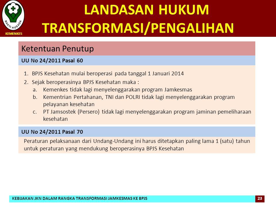 LANDASAN HUKUM TRANSFORMASI/PENGALIHAN 1.BPJS Kesehatan mulai beroperasi pada tanggal 1 Januari 2014 2.Sejak beroperasinya BPJS Kesehatan maka : a.Kem