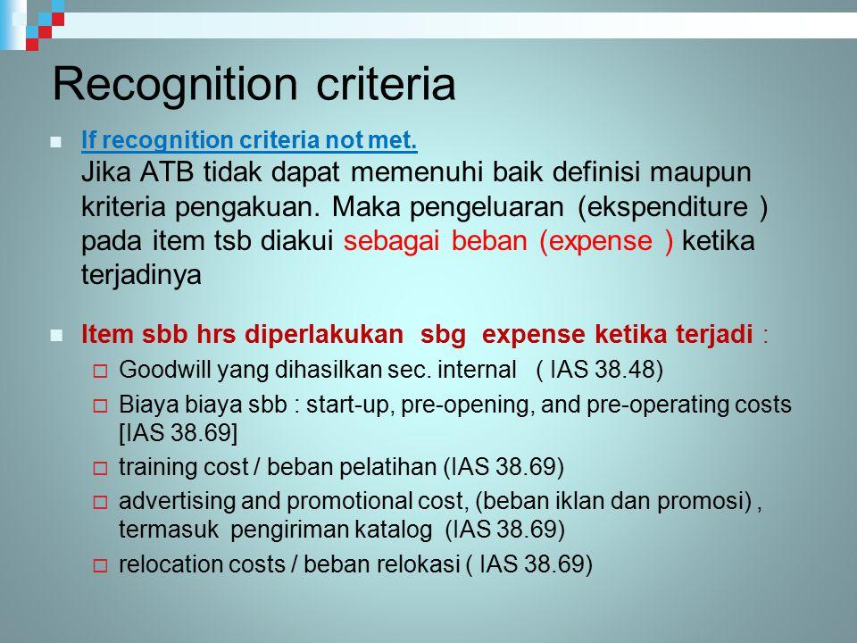 Recognition criteria If recognition criteria not met. Jika ATB tidak dapat memenuhi baik definisi maupun kriteria pengakuan. Maka pengeluaran (ekspend