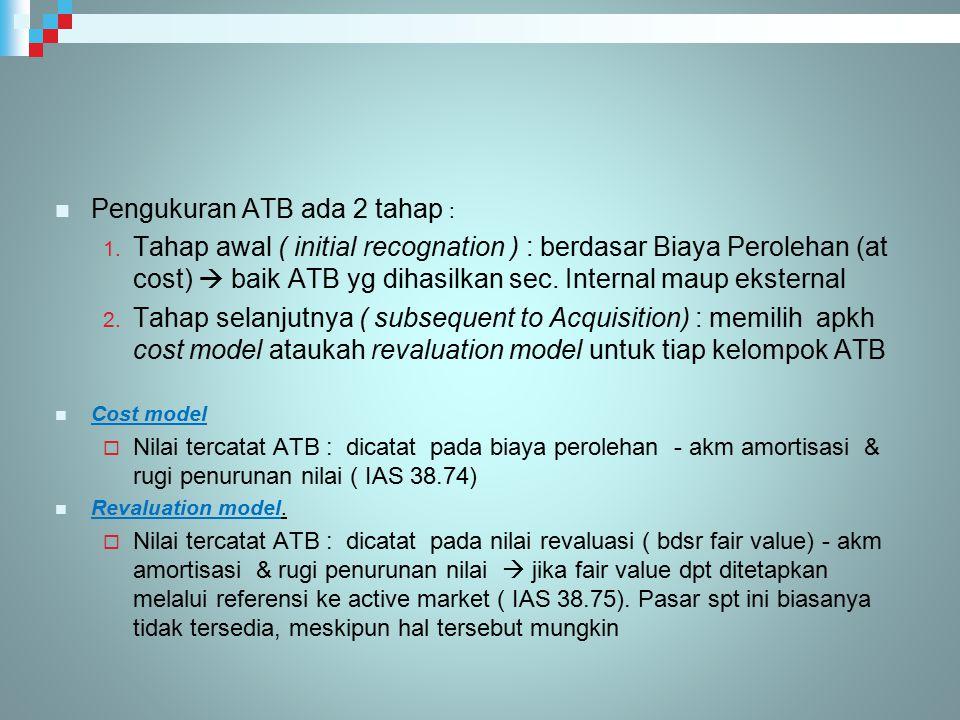 Pengukuran ATB ada 2 tahap : 1. Tahap awal ( initial recognation ) : berdasar Biaya Perolehan (at cost)  baik ATB yg dihasilkan sec. Internal maup ek