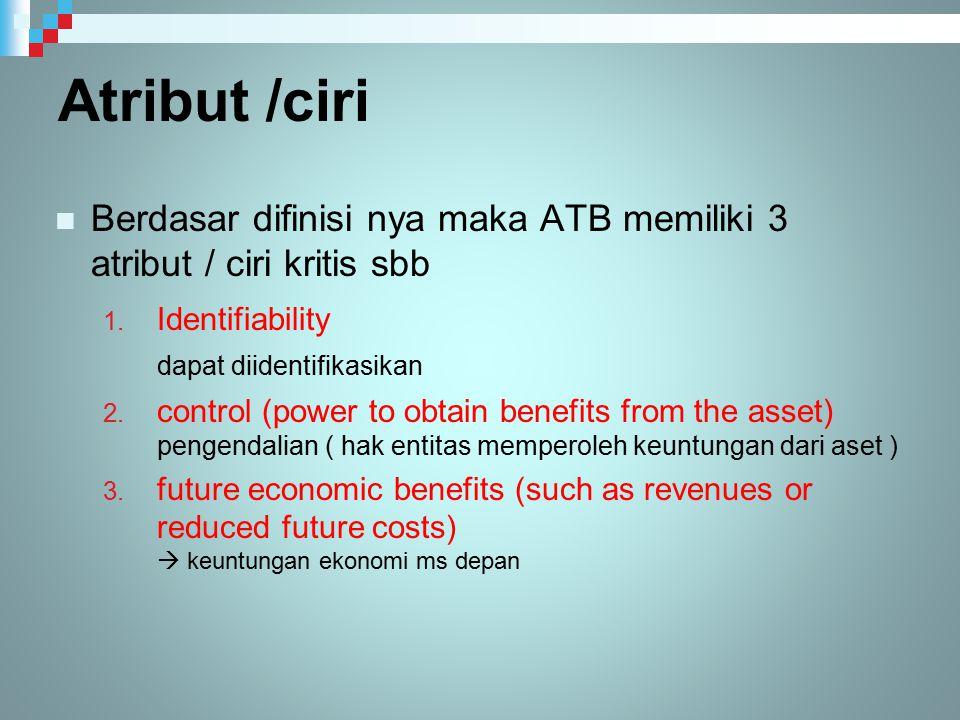Atribut /ciri Berdasar difinisi nya maka ATB memiliki 3 atribut / ciri kritis sbb 1. Identifiability dapat diidentifikasikan 2. control (power to obta