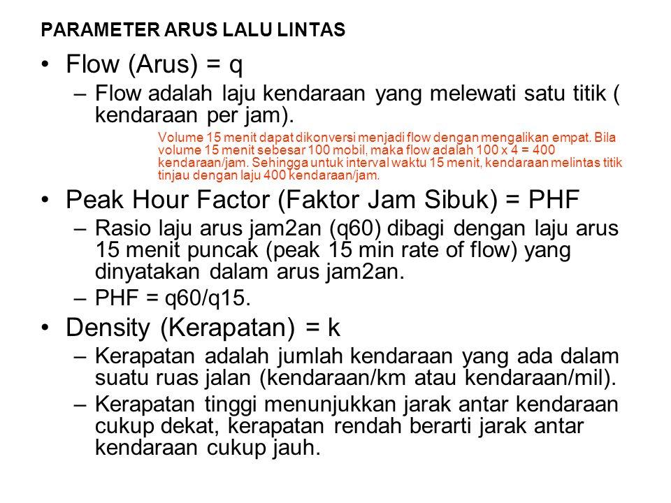 Flow (Arus) = q –Flow adalah laju kendaraan yang melewati satu titik ( kendaraan per jam). Volume 15 menit dapat dikonversi menjadi flow dengan mengal