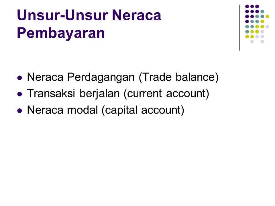 Unsur-Unsur Neraca Pembayaran Neraca Perdagangan (Trade balance) Transaksi berjalan (current account) Neraca modal (capital account)