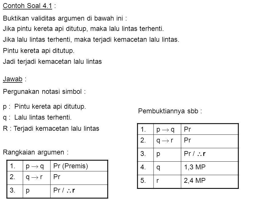 Contoh Soal 4.1 : Buktikan validitas argumen di bawah ini : 1. p  q Pr 2. q  r Pr 3.p Pr /  r 4.q1,3 MP 5.r2,4 MP 1. p  q Pr (Premis) 2. q  r Pr