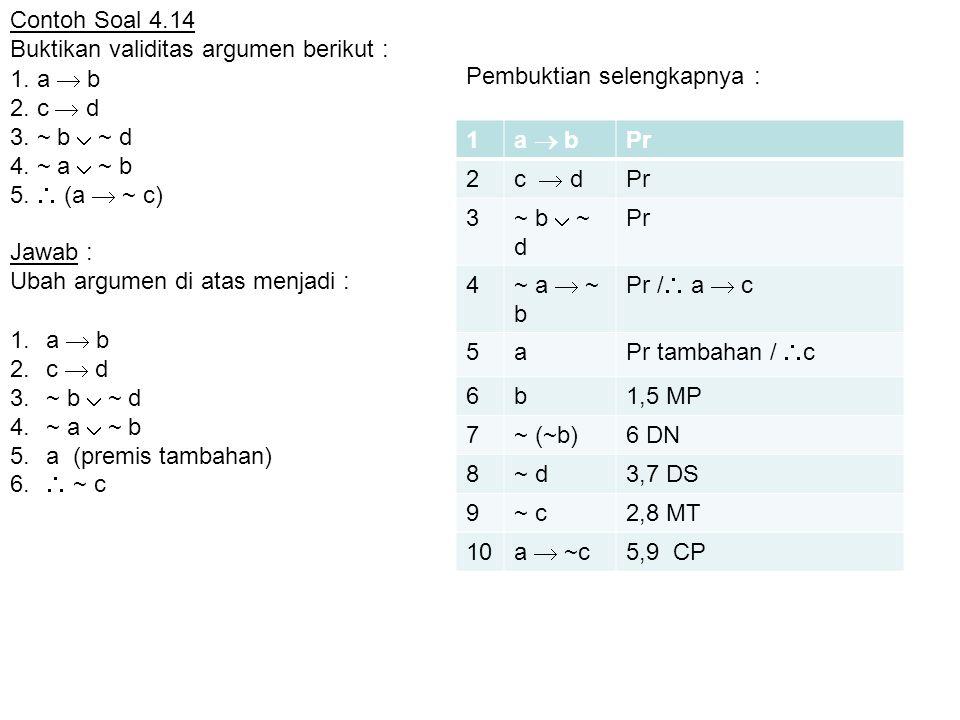 1. a  b 2. c  d 3. ~ b  ~ d 4. ~ a  ~ b 5.  (a  ~ c) 1.a  b 2.c  d 3.~ b  ~ d 4.~ a  ~ b 5.a (premis tambahan) 6.  ~ c 1 a  b Pr 2 c  d P