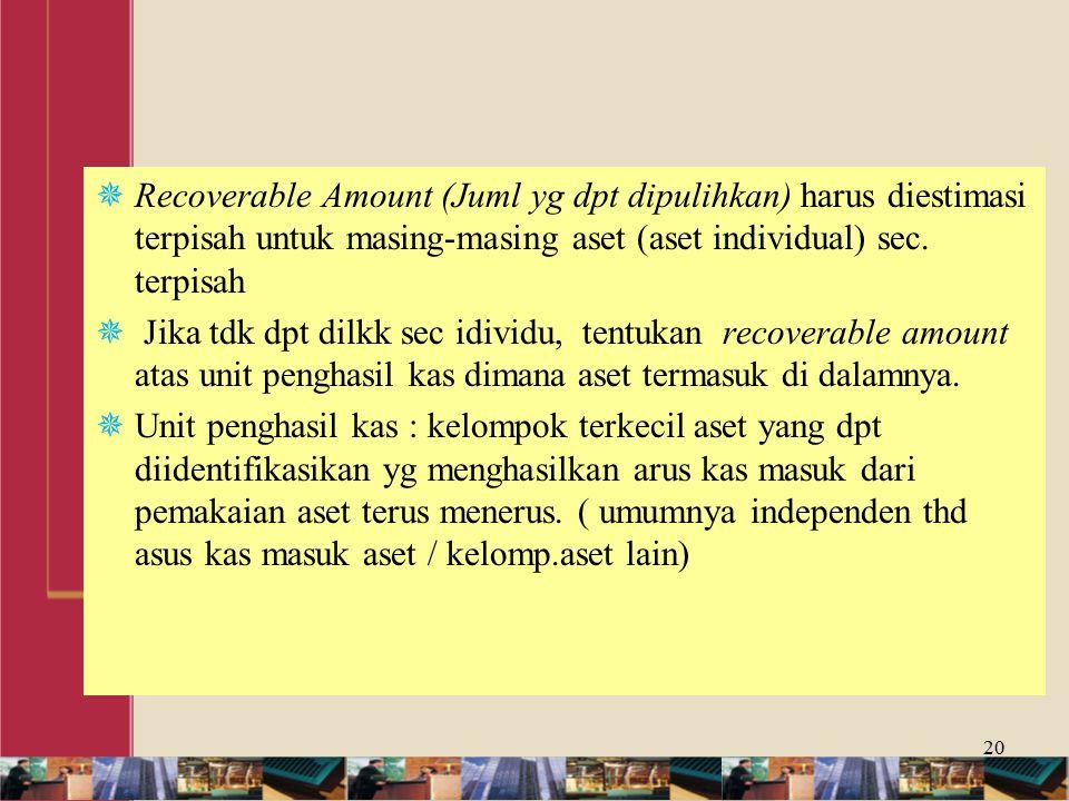  Recoverable Amount (Juml yg dpt dipulihkan) harus diestimasi terpisah untuk masing-masing aset (aset individual) sec.
