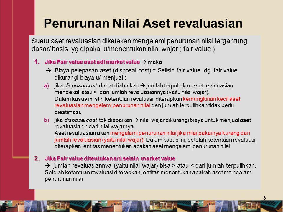 Penurunan Nilai Aset revaluasian Suatu aset revaluasian dikatakan mengalami penurunan nilai tergantung dasar/ basis yg dipakai u/menentukan nilai wajar ( fair value ) 1.