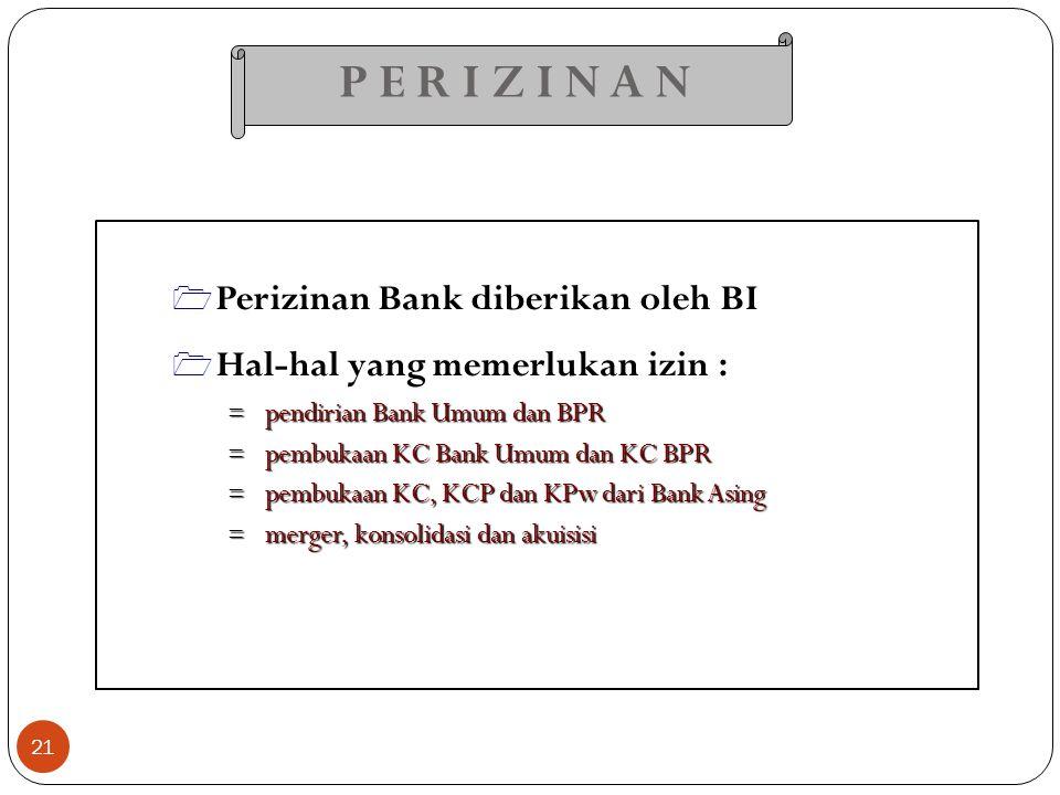 P E R I Z I N A N 21  Perizinan Bank diberikan oleh BI  Hal-hal yang memerlukan izin : = pendirian Bank Umum dan BPR = pembukaan KC Bank Umum dan KC
